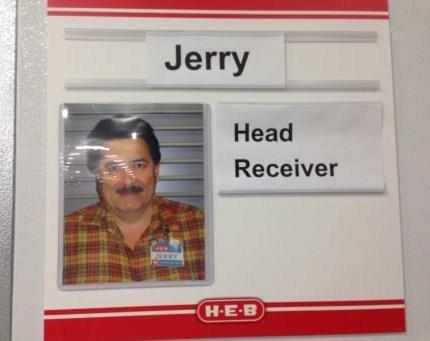 jeremy loves his job. . Head Receiver. He looks a little bit like Ron Swanson.