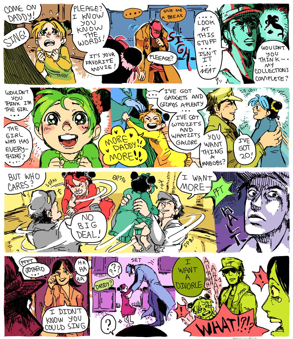 Jotaro sings. Found on the interwebz. Source: Jojo's Bizarre Adventure.