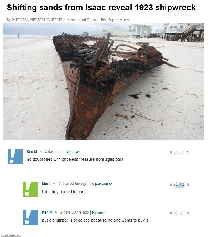 "Ken M. FML: Helpless victim: www.crackedsorcerer.com/post/1586/Helpless-victim. Shifting sands from Isaac reveal 1923 shipwreck By ""( I Associated Press - Fri,"
