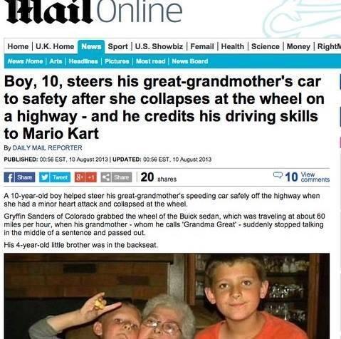 Knew it'd come in handy.. . Heme I Uat, Heme News Sperit I U. S. Bhabhi: I lsat. rter I Haney I Eighth Boy, 10, steers his ' s car I to safety after she collaps