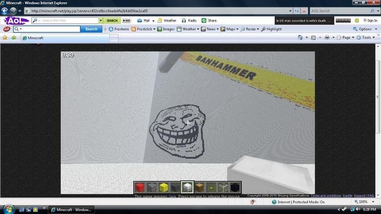 "Minecraft troll. LOL sorry if it is bad quality. g hr (SIS) Ff SEABEE ""! Hun Iki' k Mail _ 4 Weather G, Radio E Share iam man in wife' -_=. death a, "", (i? s Fr"