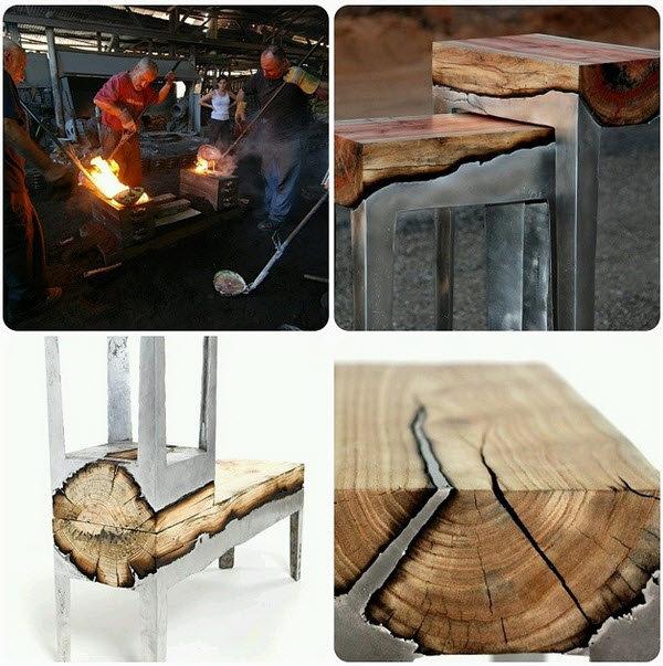 molten metal poured over wood. .. Teehee, reinforced wood.
