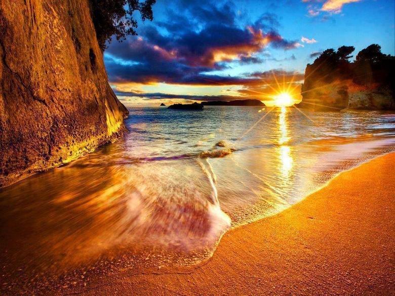 New Zealand. New Zealand, Cathedral Cove Beach Sunrise!.. New Zealand