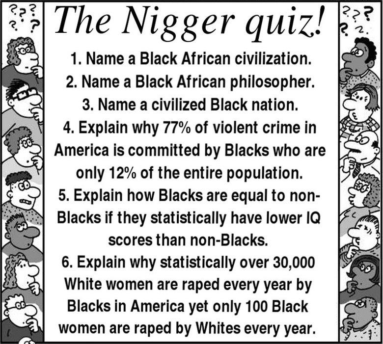 "nigger quiz. . 1. Name an Black African civilization. .. 2. Name a Black African philosopher. 3. Name a civilized Black nation. j."".. 4. Explain why / o of viol"