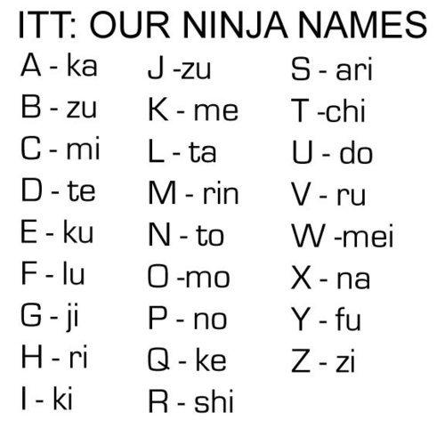 Ninja Name. im not a thumb whore but i like thumbs up. ITT: OUR NINJA tsl/ / IES Awke Jim Karrie Tachi Carr/ Leta Date N/ bluto Filu Xena Goji Pano Hopi PI Zazi