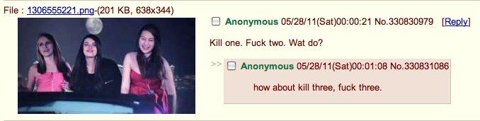 oh 4chan. . Kill tune. twe Wat dd? CI Anonymous ) 00: haw about kill three, funk. three.