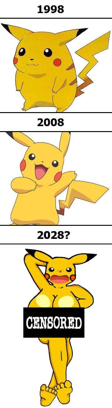 Pikachu keeps getting slimmer each year.. Oh my. 1998