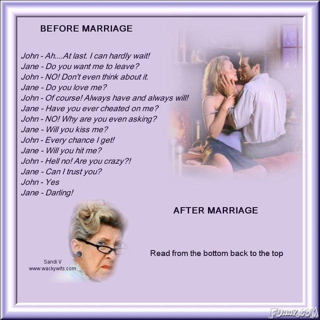 Progressing of Marriage. Rofl So True.. BEFORE MARRIAGE Jam -.Ah..... At last, f can hastily wait! Jana -Coypu wartime to. kraft. ? John - MW Dor/ t annan think