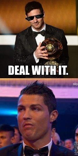 Ronaldo is unimpressed.. Ronaldo's reaction when Messi won the FIFA Ballon D'Or 2013.. HEM WWII IT sky