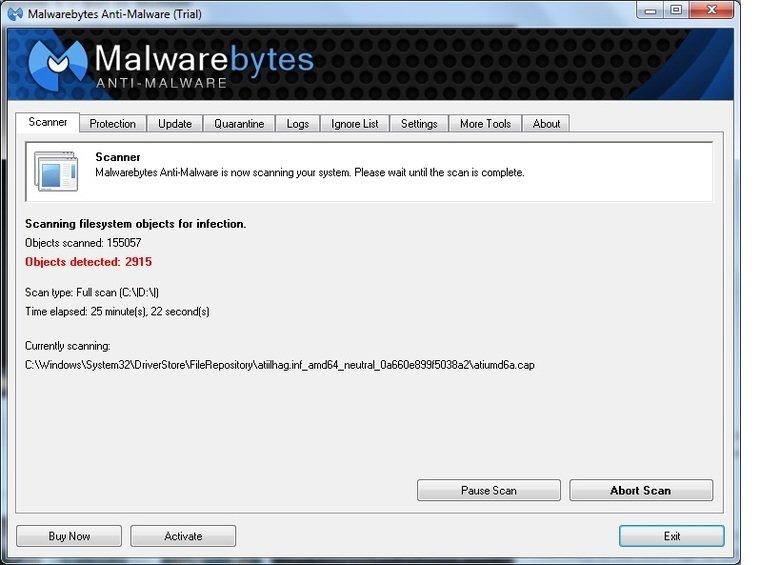 so I finally ran a virus scan.... wtf?. to Malwarebytes Cr rial] I M Malware Scanner Update Settings Scanner is nci. -u scanning _I, Icar system. Please wait un
