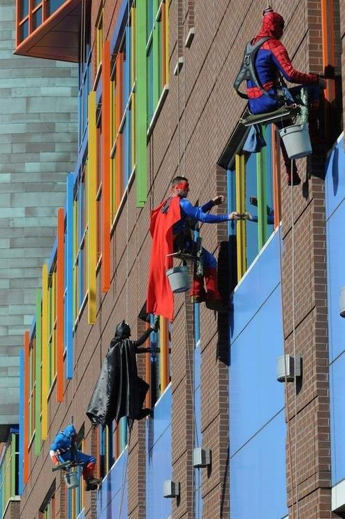 spider man window cleaner? lame. i present you ....... did superman join the teenage mutant ninja turtles?