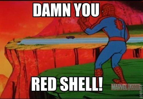 Still not worse than blue shell. . DAMN BED SHELL!