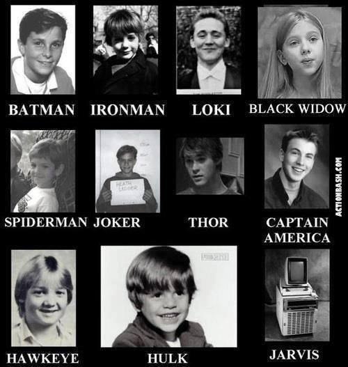 "Super Kids. . BATMAN IRONMAN LOKI "" w Atrii Lt N JOKER = THOR CAPTAIN "" AMERICA. Baby Tom looks so adorable."