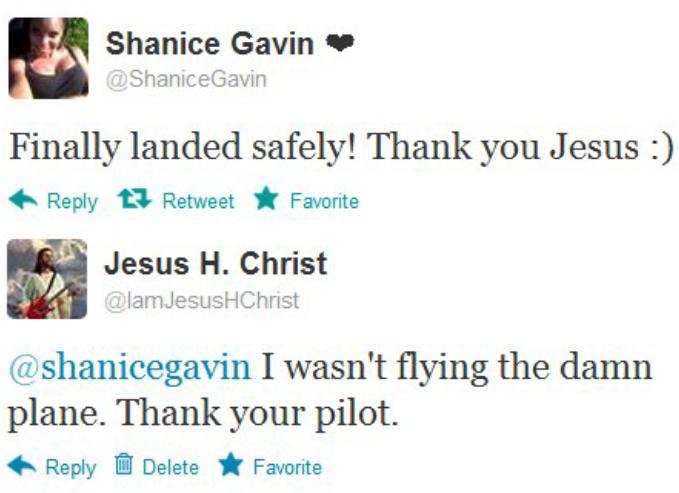 "Thank you Jesus. . 3,.) Shanice Gavin It d I Shanice( Davin Finally landed safely! Thank you Jesus :) A Reply "" Retweet A Favorite u gii Jesus H. Christ fill r."