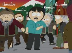 thumbs? thumbs? thumbs?. SPARE THUMBS?.