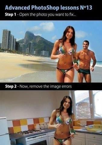 to the kitchen. . Advanced Photoshop lessons NWW. You forgot to remove the bikini.