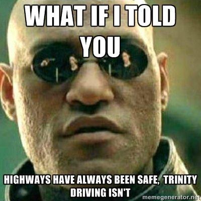 "Trinity. demm tagz. s"" new sure. mum. What's trinity driving?"