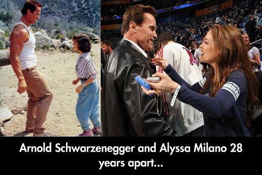 Two friends meet again. Two friends meet again geniusquotes.net/black-nigga-tumblr-quote/. Annel Schwarzenegger and Alyssa Milano 28 years apart.... Ahhhh Commando. Such an awesome movie.