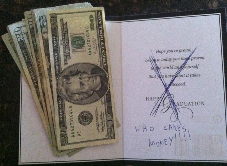 (untitled). .. wish i got that much money for graduation, got 10 bucks, so good