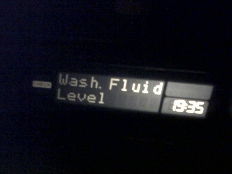 wash fluid level - 1935. my car did this last night....