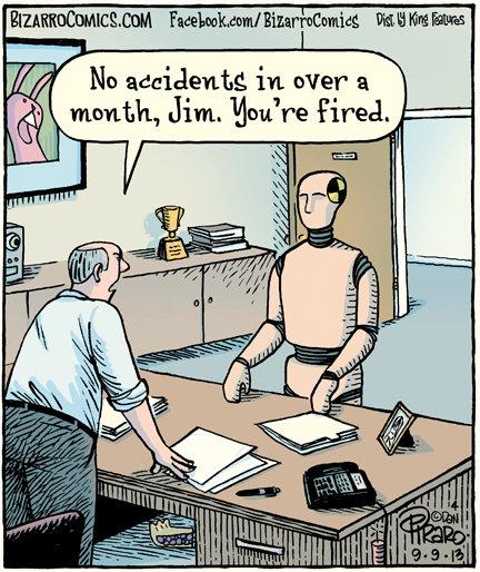 What a dummy. Source: bizarrocomics.com/. sce No , in over a 1) iill, marth, Jim, 'lhu we fire's,. got pie under his desk