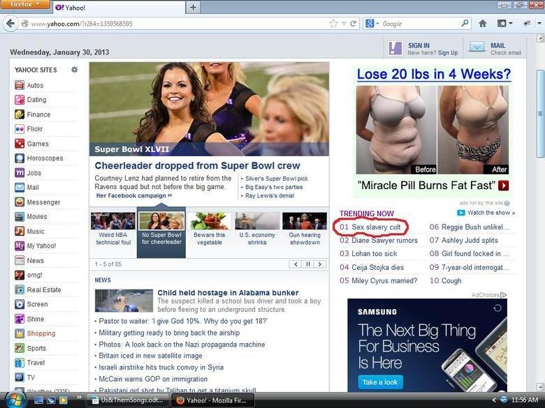 yahoo. . f EL Wednesday, January M, 2913 Menu here? Sign up . h, C.,, r.. l Cheek email Lose 20 we in 4 Weeks? range: SITES Super Bowl CLVII I Cheerleader dropp