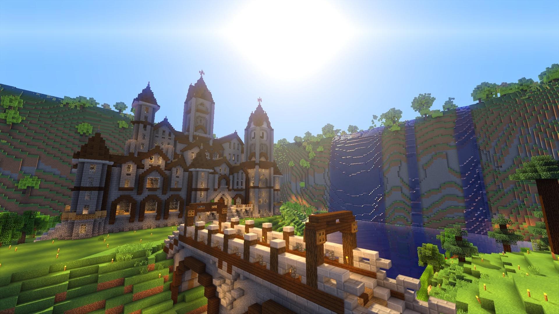 Player-made castle on survival MC server