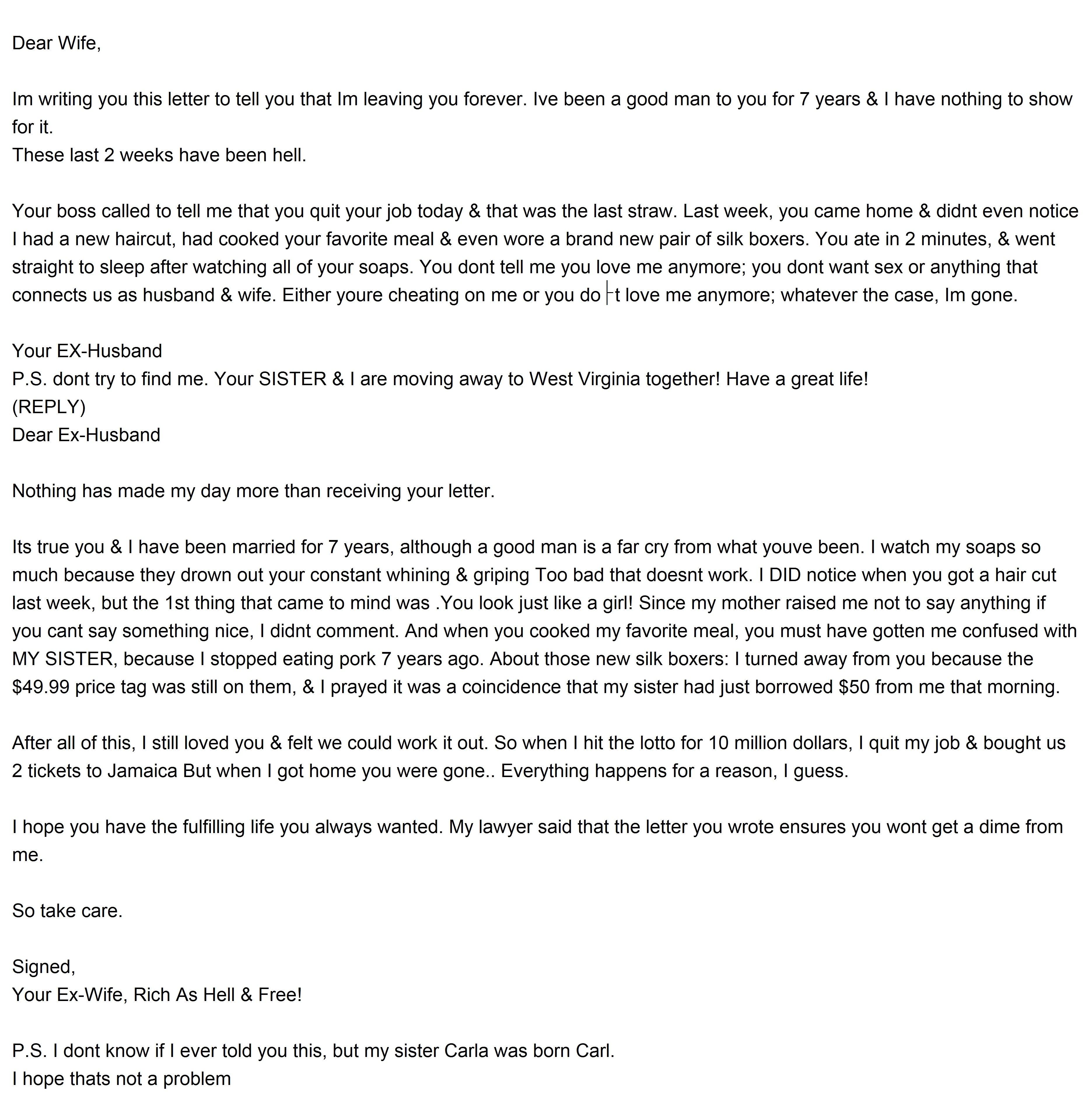 Divorce letter insrenterprises best divorce letter ever solutioingenieria Images