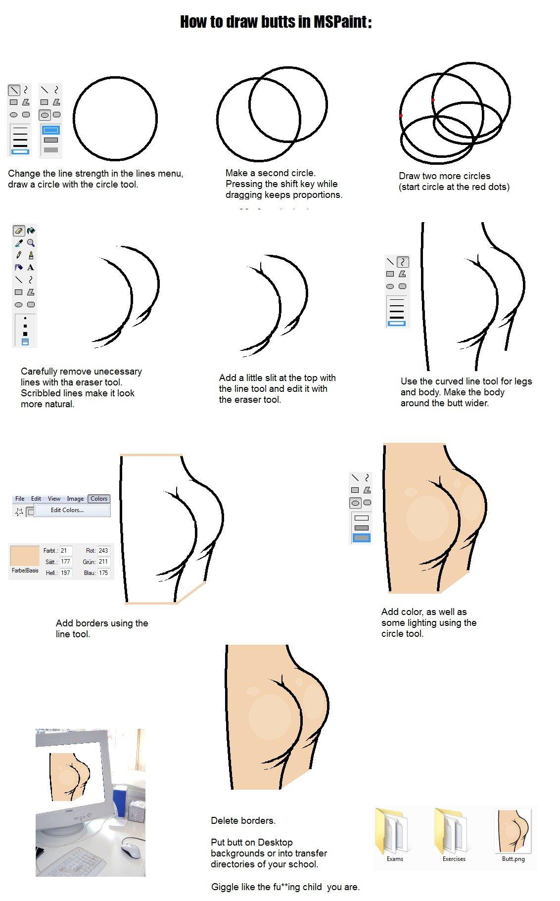 Drawing Lines Using Arrow Keys Java : Draw butts in mspaint