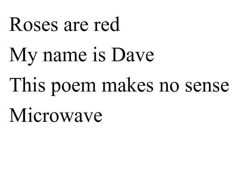 Funny poems that make no sense