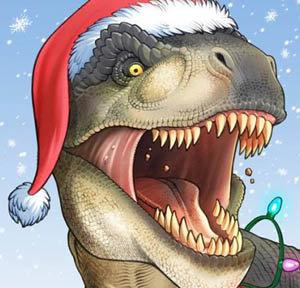 Christmas Dinosaur.Awesome Dinosaur