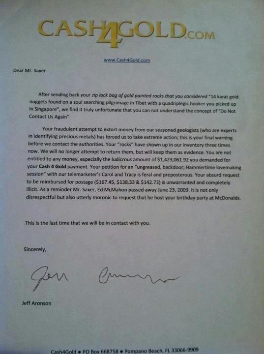 cash for gold complaint response letter