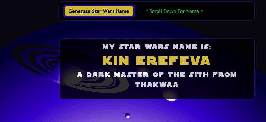 Image Gallery Jedi Name Generator