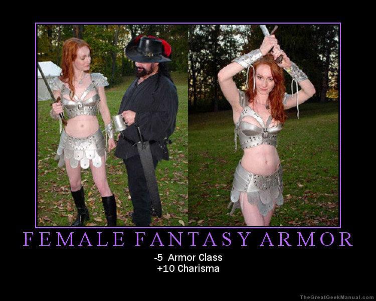 With Fantasy female armor meme