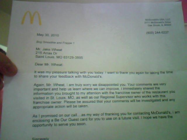 McDonalds Apology Letter