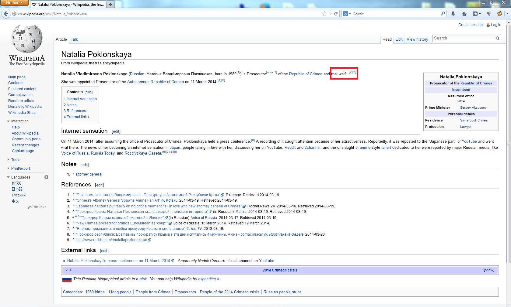 Natalia Poklonskaya Wikipedia
