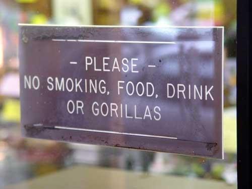 Image result for no gorillas sign