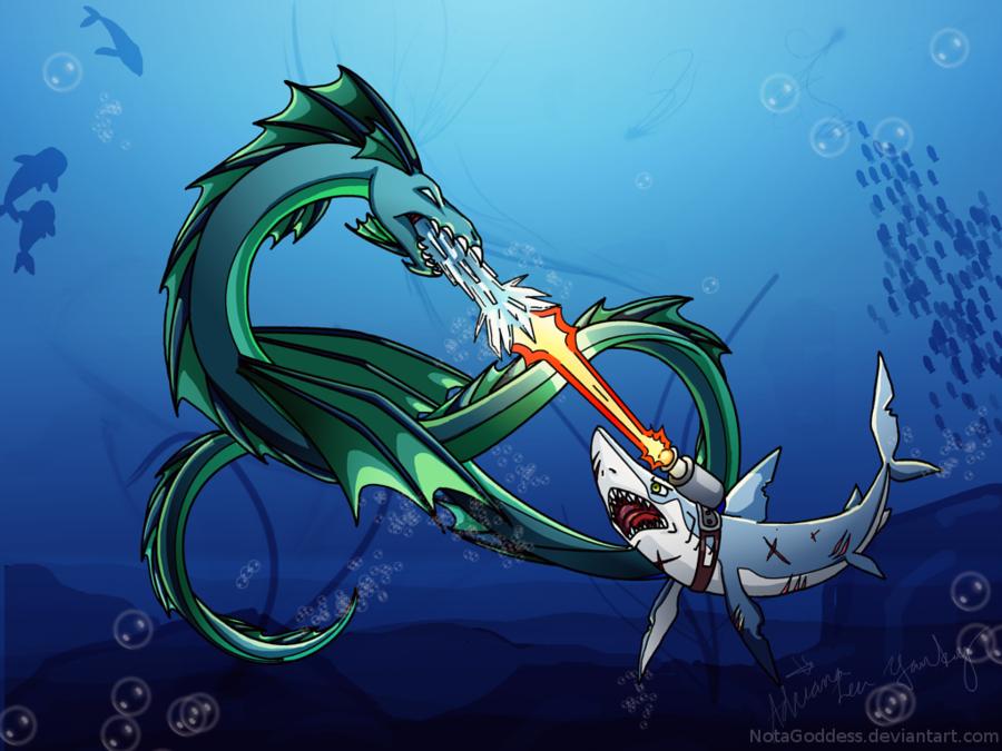 Sea Dragon Vs Shark Wallpaper