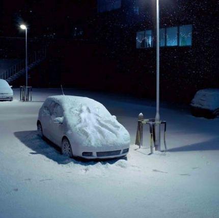 Snow sex on car