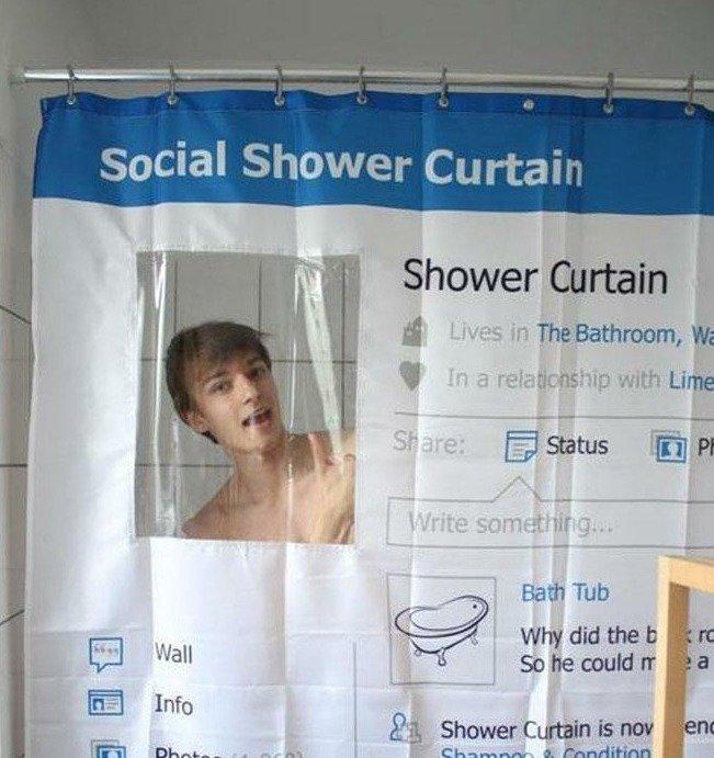 Fun Shower Curtain social shower curtain