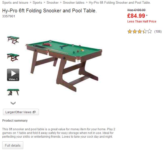 Hy pro folding snooker tables