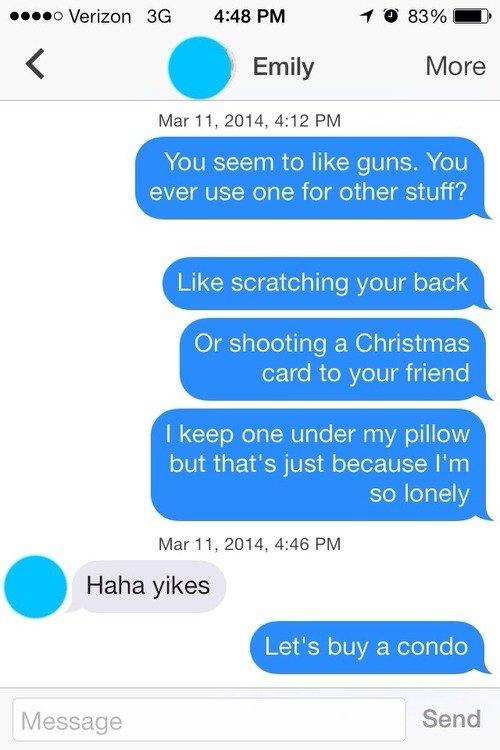 "untitled. . Verizon 4: 43 PM ""f tit 83% It ll) Emily Mere 2014, 4: 12 PM mu seem he like guns. Yesu ever use {me fer ether stuff'? Like scratching "" back Or she"