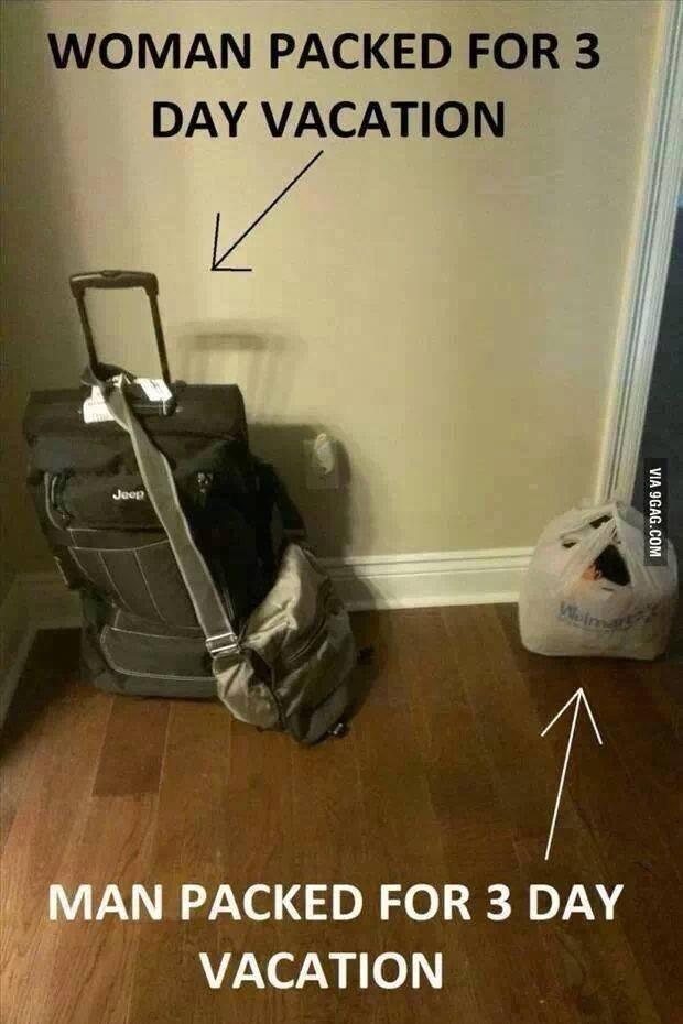 woman vs man packing vacation