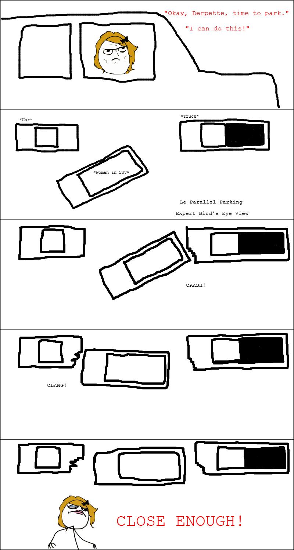 Women Drivers Parallel Park Diagram
